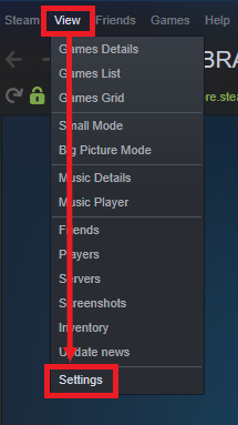 A view of Steam's Launcher, showing how to reach the settings page