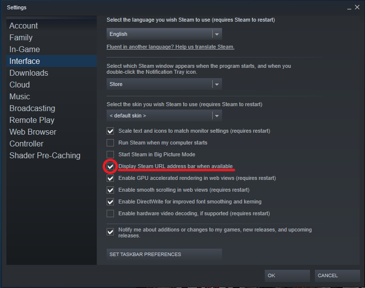 A view of the interface settings page, showing display Steam url being selected