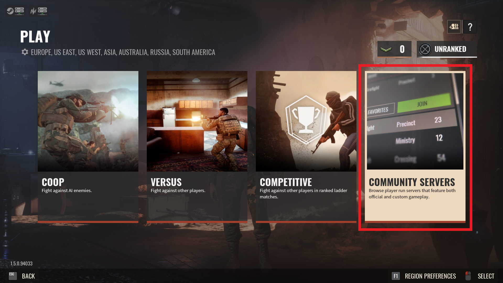 A view of the gamemode selection screen for the game Insurgency Sandstorm