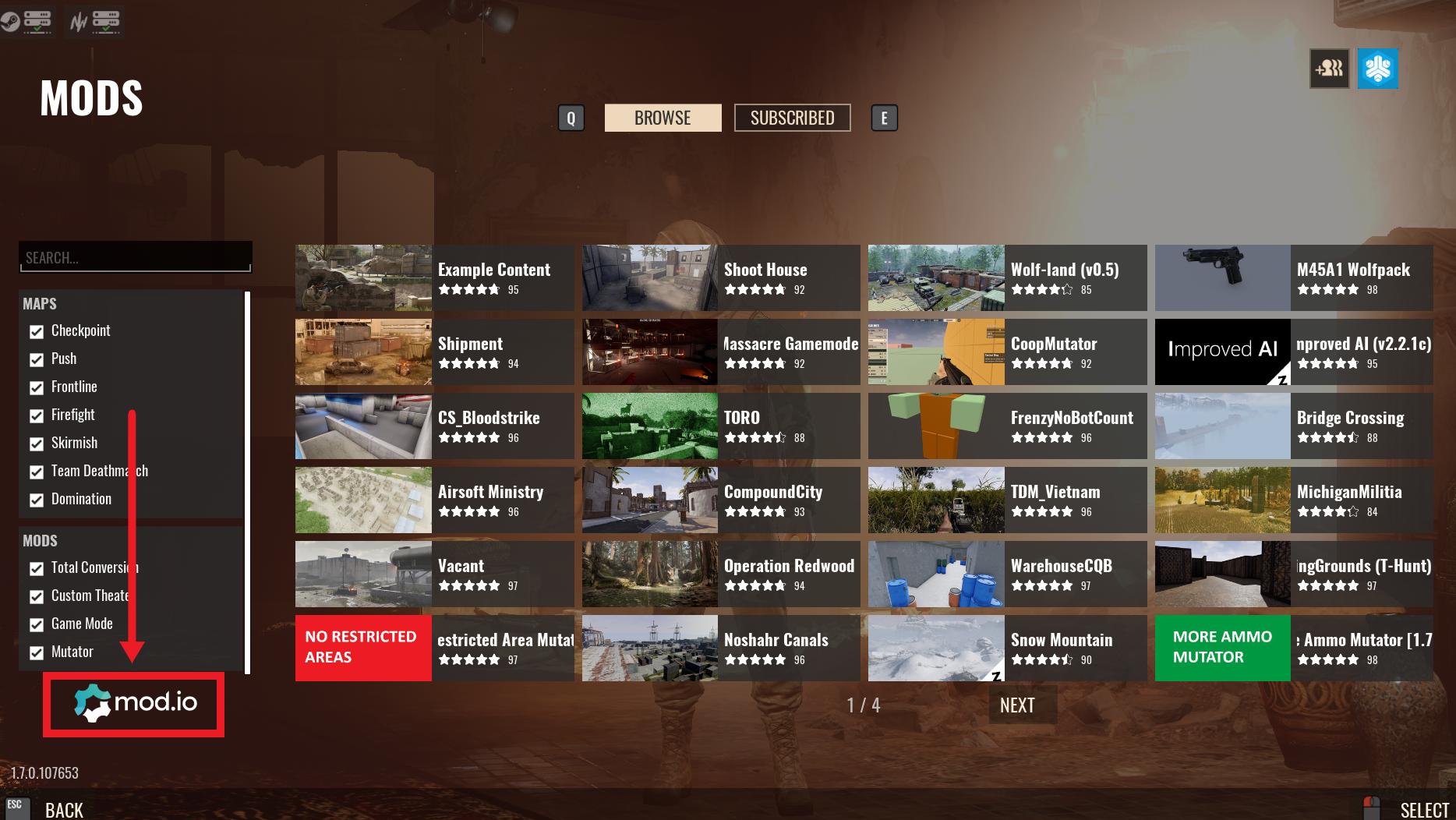 Widok strony Mods w kliencie Insurgency: Sandstorm, pokazujący, jak zalogować się do konta Mod.io.