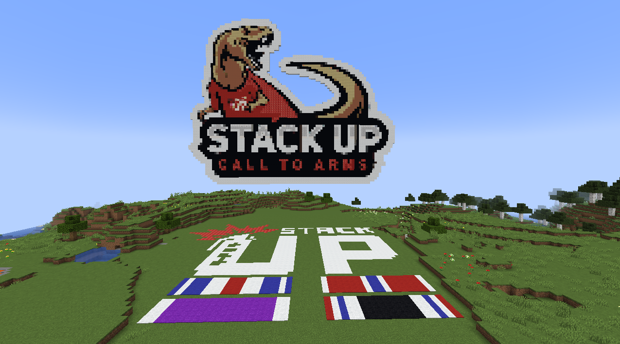 Minecraft screenshot showing a pixel build of the stackup logo and T-rex.