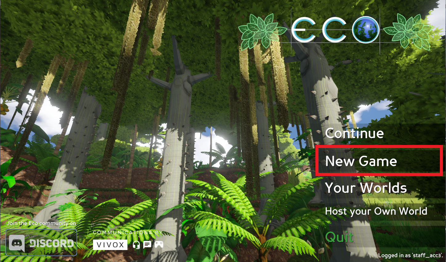 A view of the main title screen for the game Eco, with the New Game option highlighted