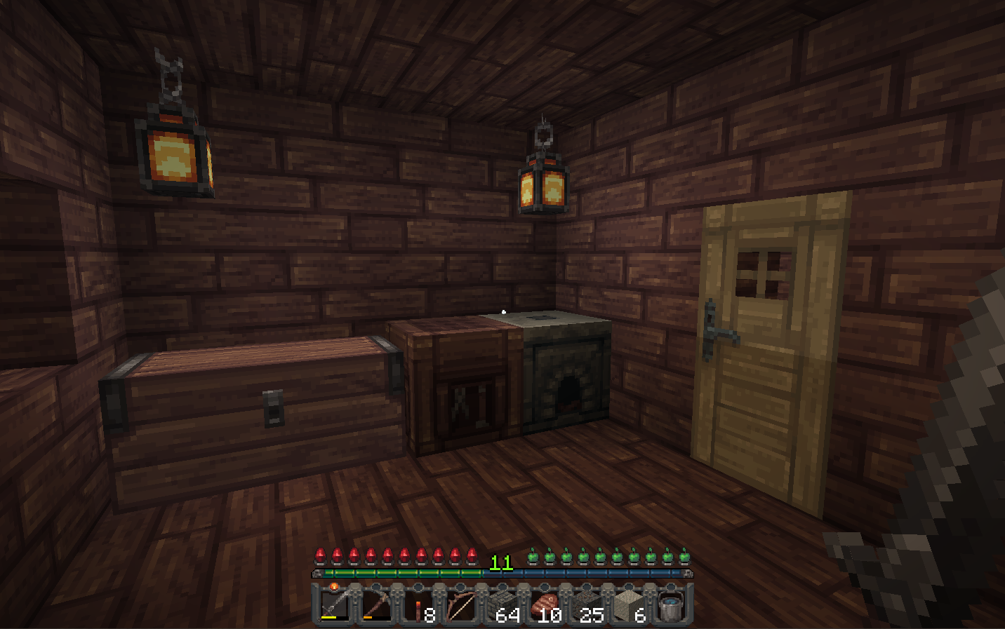 A view of the inside of a minecraft house, made with the Mythic Resource Pack