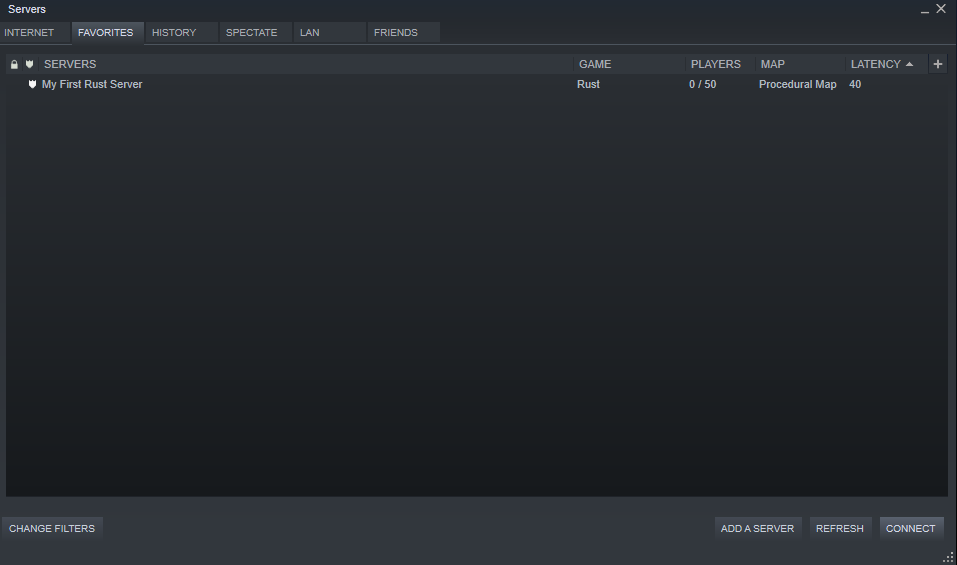 A view of the favorite servers window showing a server correctly added.