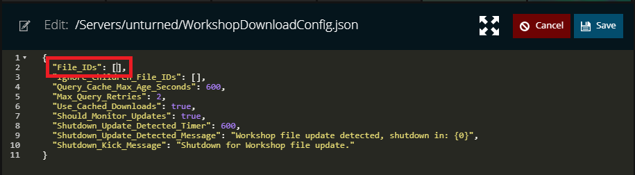 The File_IDs setting for Unturned to download the workshop content within NodePanel