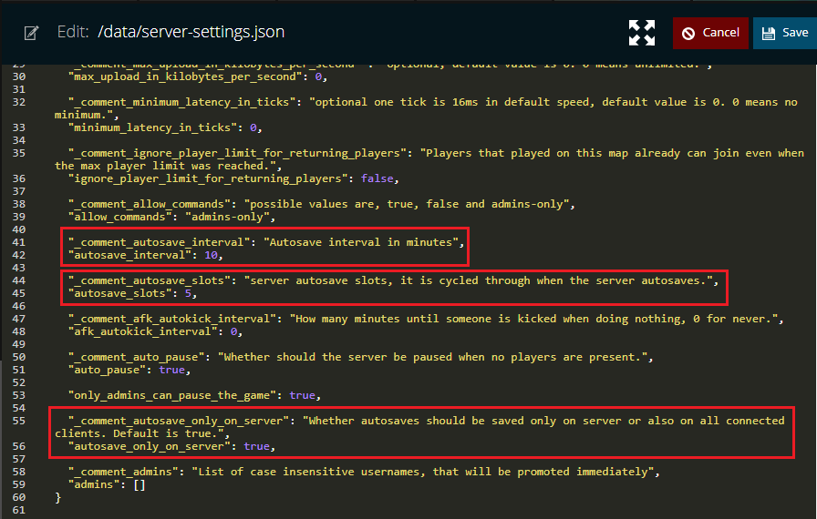 A view of the server-settings.json file for the game factorio.