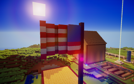 Minecraft build of an American Flag.