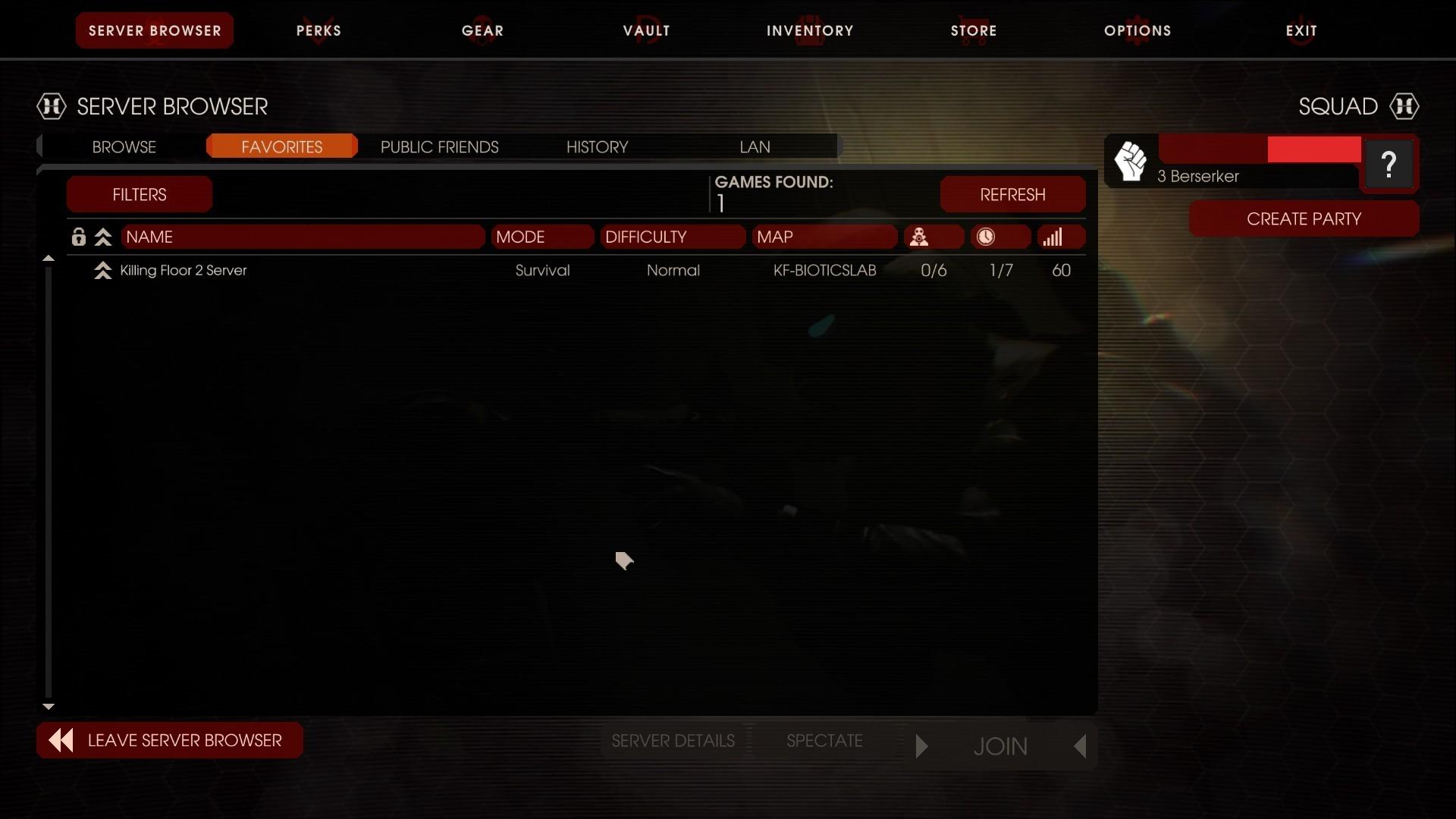 Killing Floor 2 Server in favorites