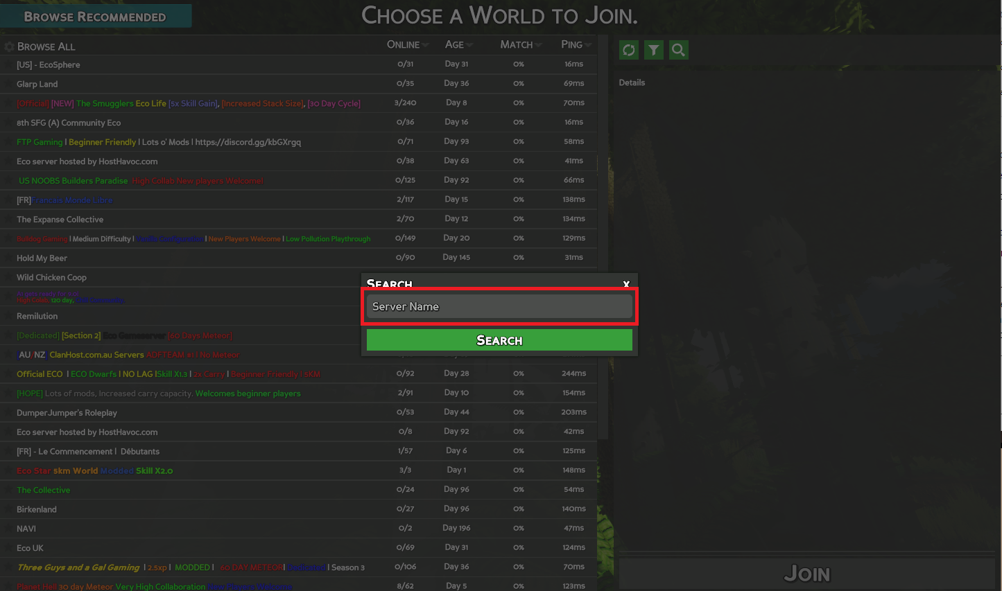 A view of the server search window for the game Eco