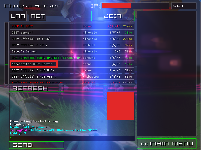 OBEY's Server List