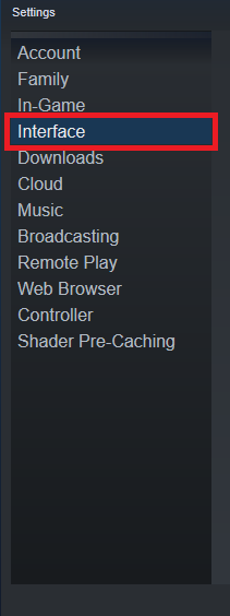 A view of Steam's launcher, showing how to reach the interface subpage in settings