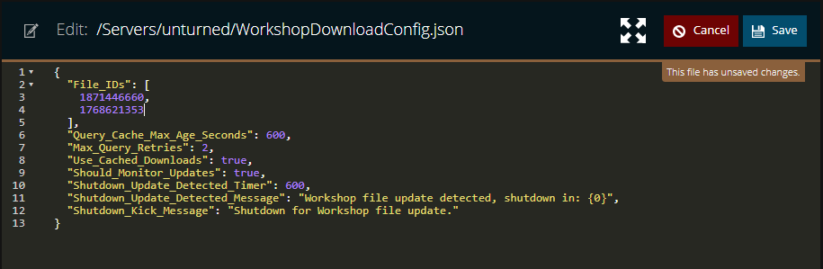 A view of the workshopdownload config file with two workshop id numbers added