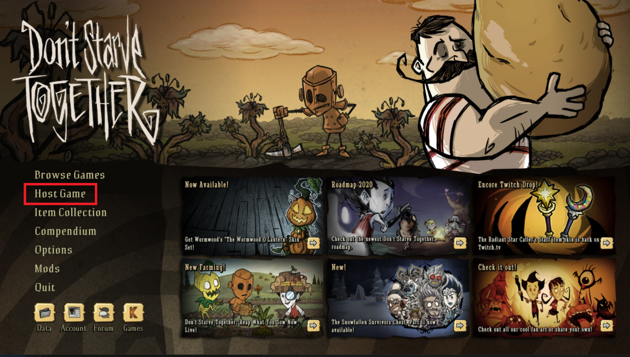 The Don't Starve Together in-game main menu
