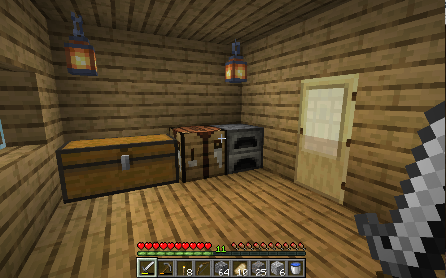 A view of the interior of a house in minecraft, with regular textures