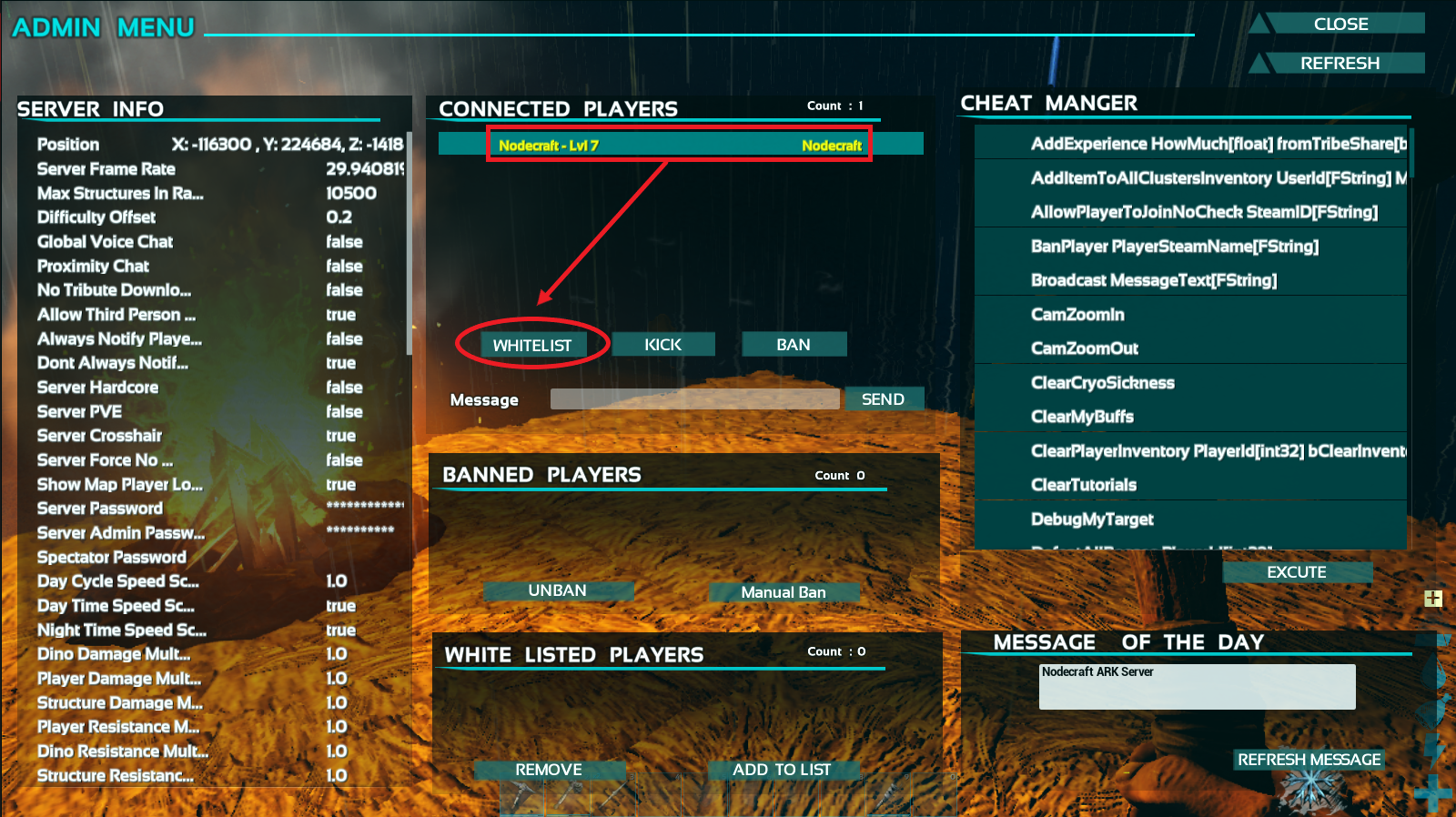 A view of the showmyadminmanager GUI in ark, and how to whitelist players