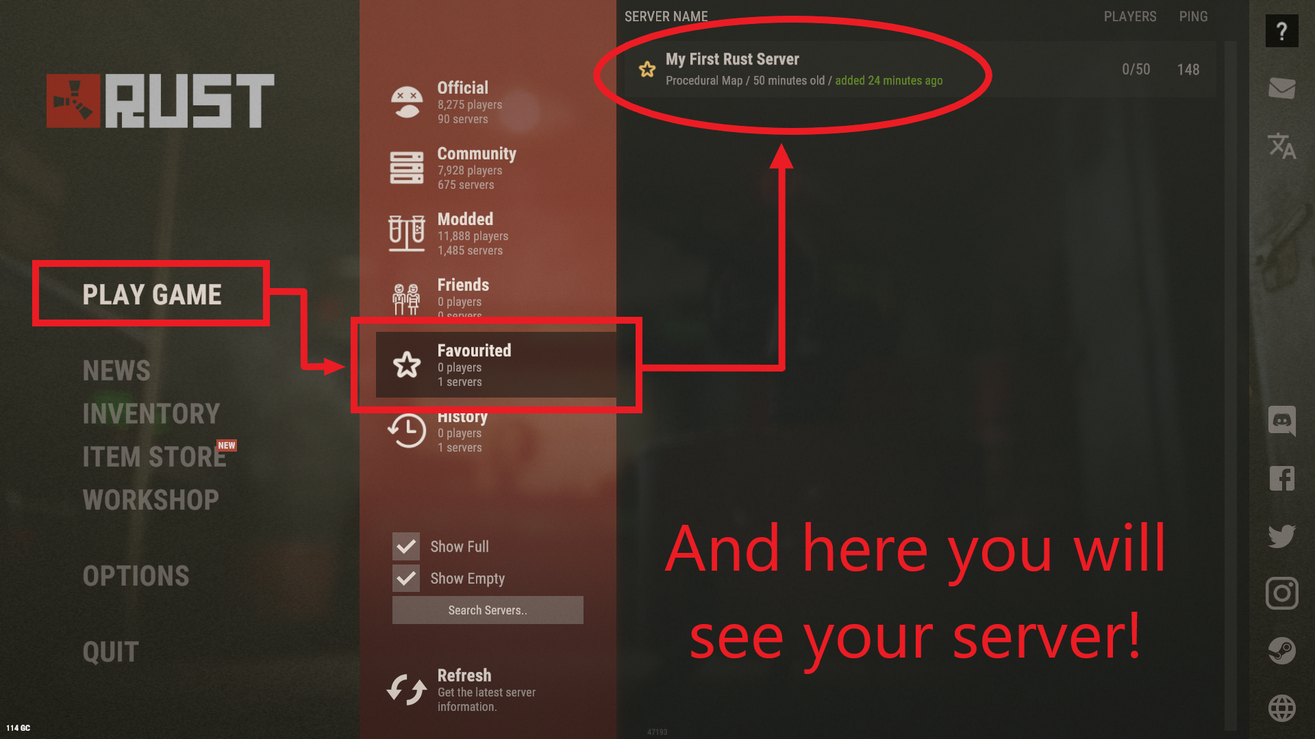 """A view of the """"Favorited"""" tab of in-game server listings of Rust."""
