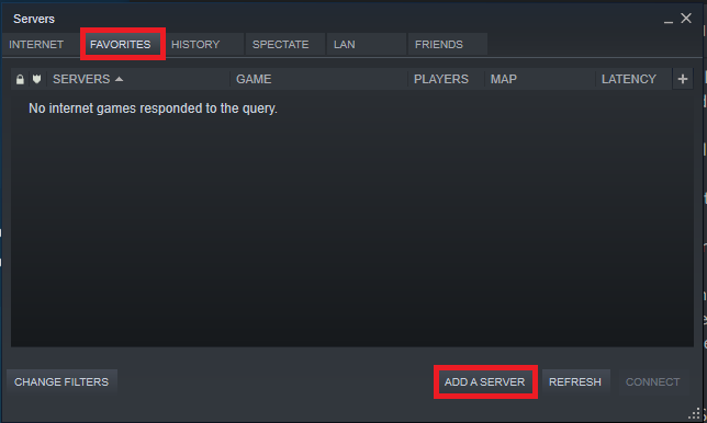The Steam Servers screen to add a server to your Favorites