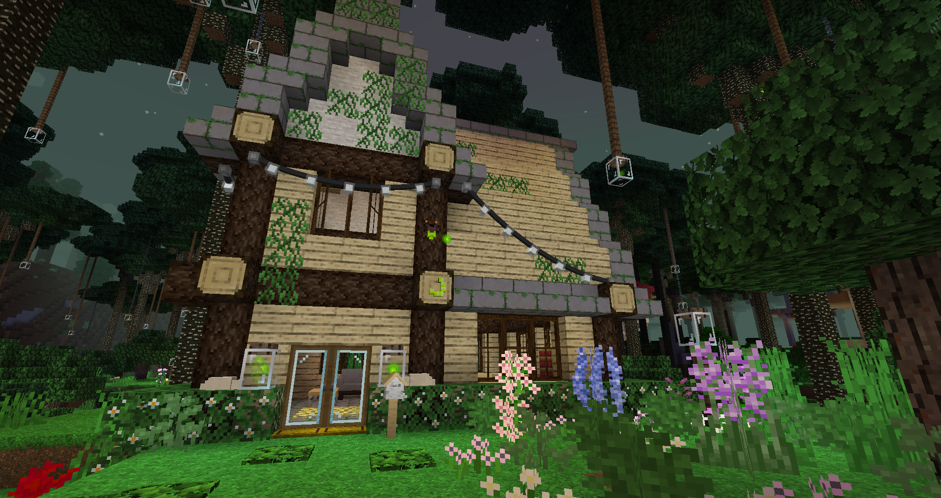 An overgrown house build with many kinds of flowers, fairy lights, and hanging firefly jars.
