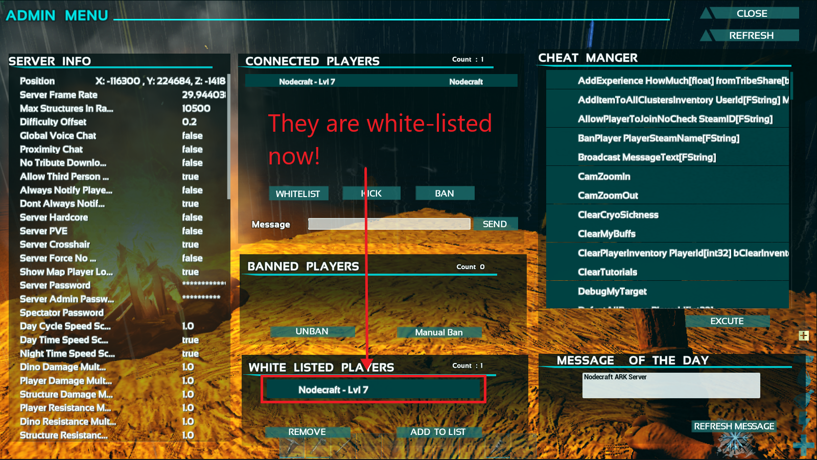 A view of the showmyadminmanager GUI in Ark, with a player successfully whitelisted