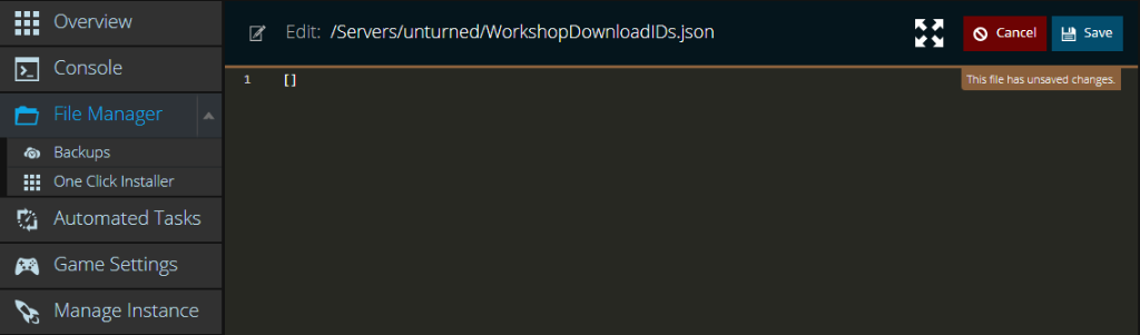 Unturned_Adding_Mods_workshopdownloadids_emptyfile
