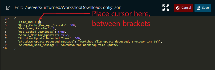 editing the workshopdownloadconfig on an unturned server