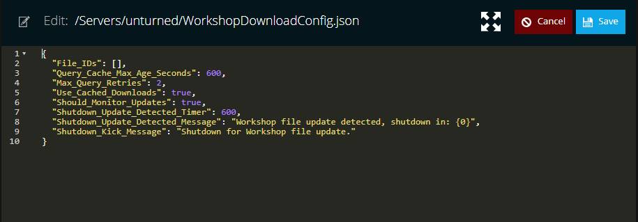 A view of the workshopdownloadconfig file for the game unturned