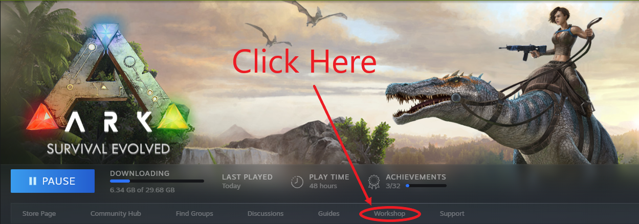 A view of Steam's game page for ARK: Survival Evolved, highlighting the workshop button.