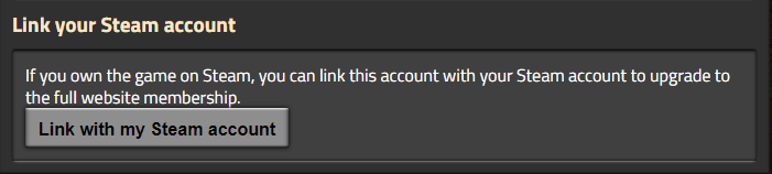 Showing the button you would use to Link your Factorio account with your Steam account