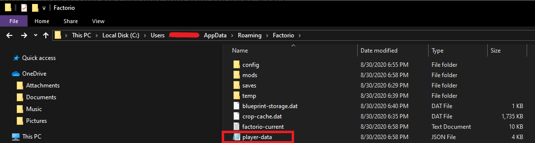 The location of Factorio's save files, to find the player-data.json file