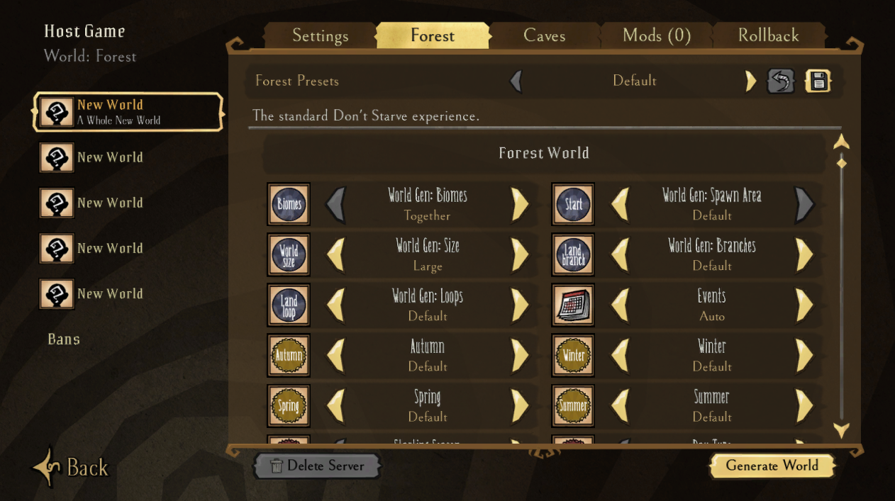 A view of the world generation settings for a new Don't Starve Together server