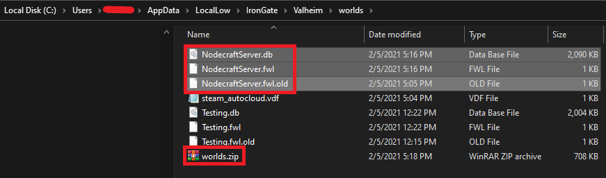 World save location for Valheim on your PC