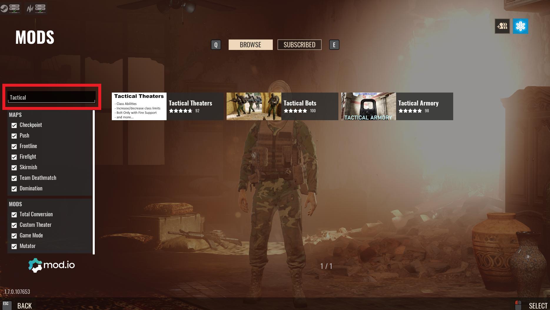 Widok modów do Insurgency: Sandstorm, pokazujący pasek wyszukiwania.