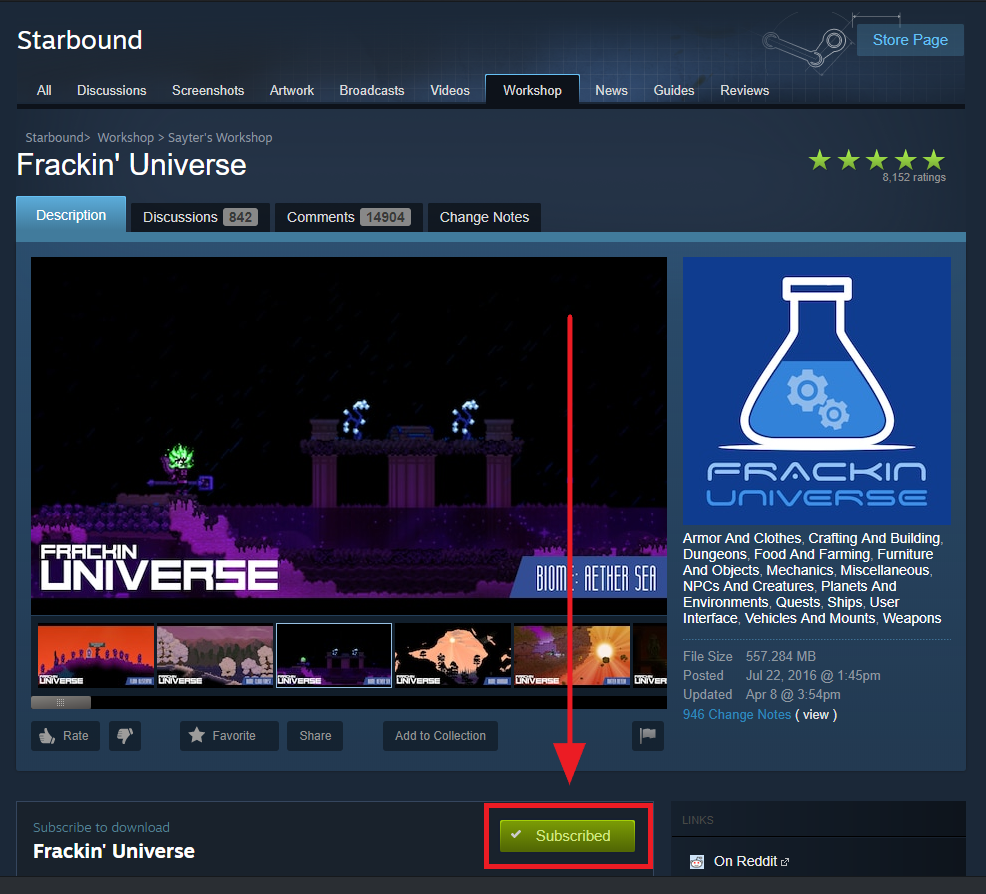 Subscribing to Starbound mods on the Steam Workshop