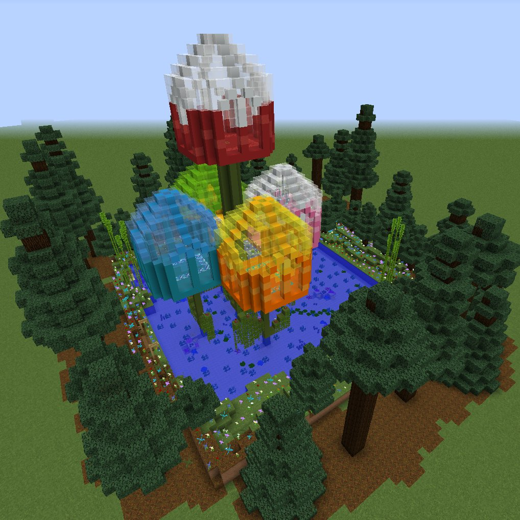 A minecraft build of a group of huge multicolored tulips. The interior of each flower is its own room, making a house.