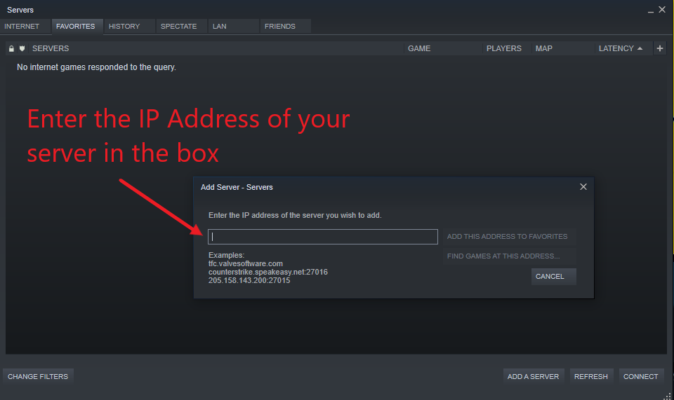 A view of the Steam add server dialog box for entering the server IP address