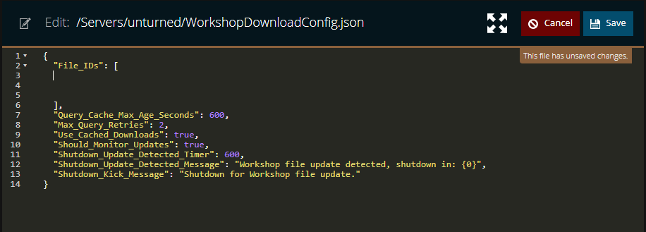 A view of the config file for workshopdownloads in unturned, with space made to insert the workshop id numbers