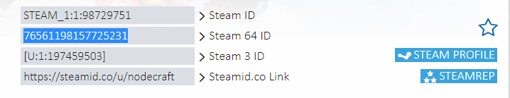 A view of multiple formats of Steam ID numbers