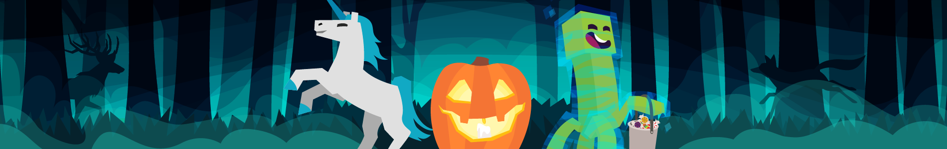 Header image of a charged creeper and unicorn with a pumpkin, set in spooky woods.