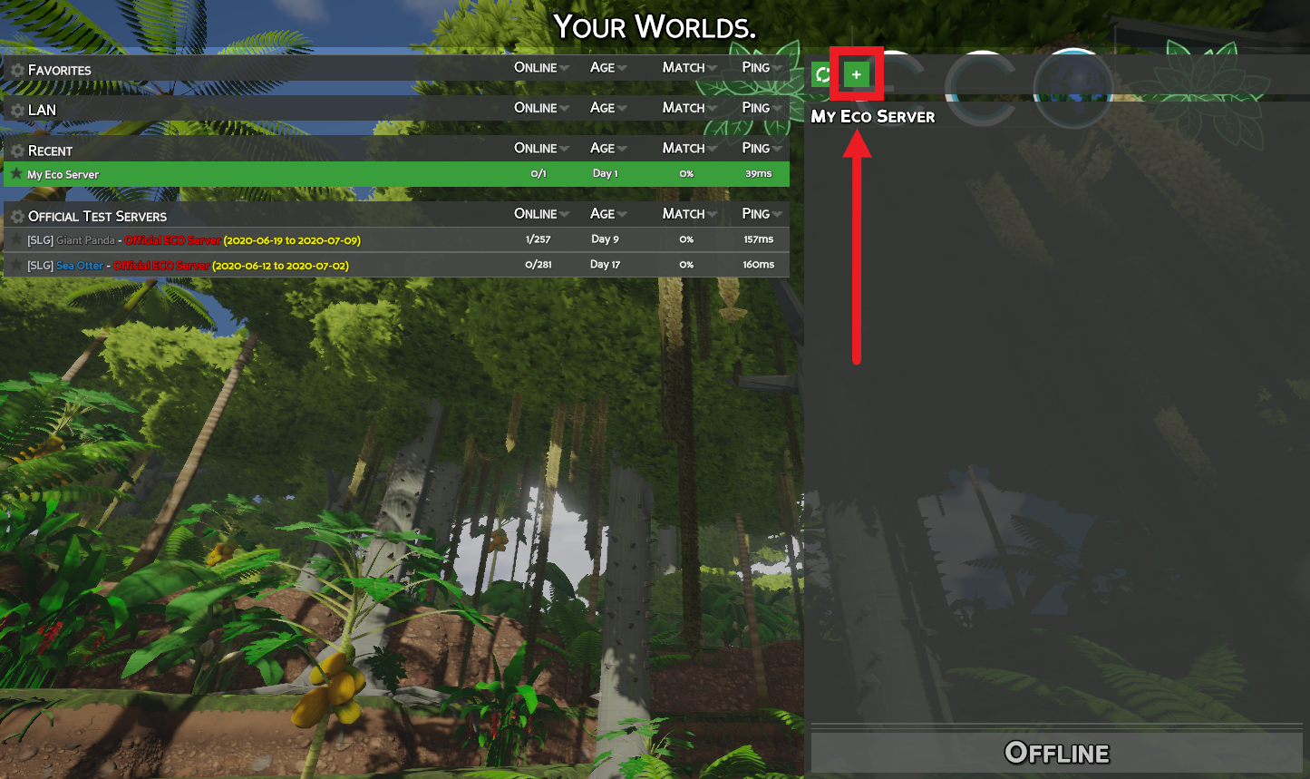 A view of the Your Worlds server listings for the game Eco, showing the button for entering an IP address directly