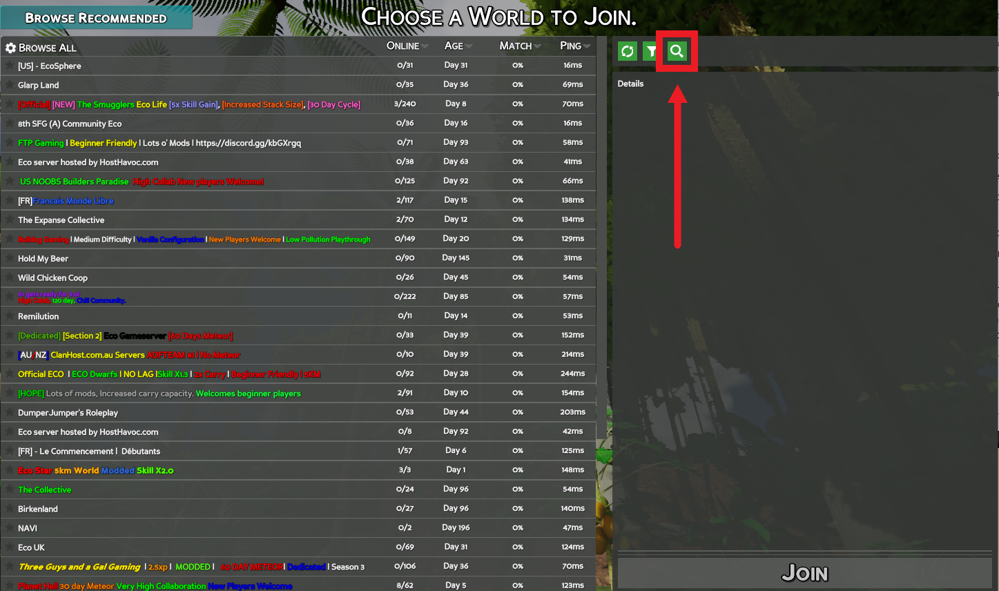 A view of the Browse All server listings for the game Eco, with the Search button highlighted