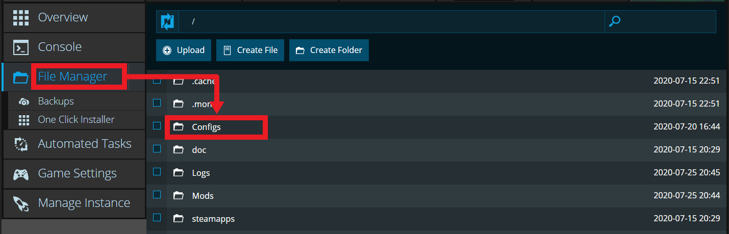 A view of the Nodecraft file manager showing the config folder for the game Eco
