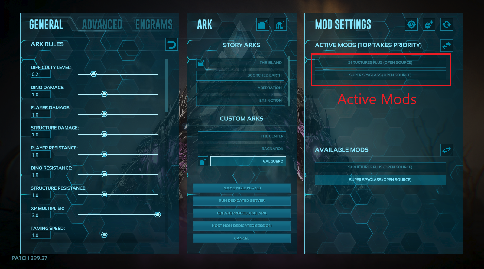 A view of the control panel for creating a single player game in ARK, showing enabled mods