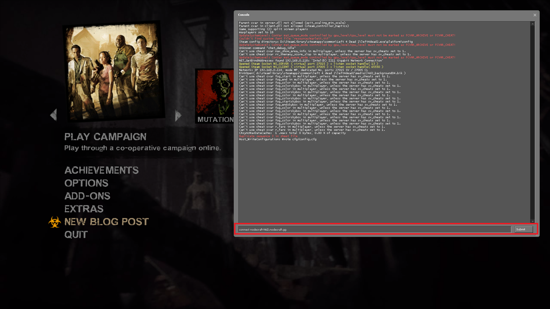 Entering the connect command for Left 4 Dead 2 in the Developer Console
