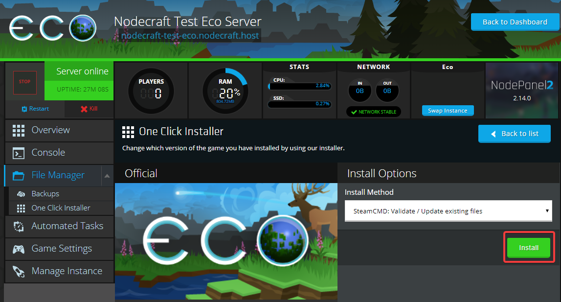 Nodecraft 1-click Eco server update