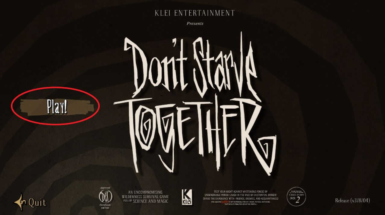 A view of the main menu screen of the game Dont Starve Together